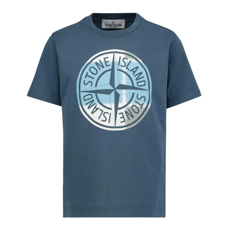 STONE ISLAND JUNIOR - Tee shirt bleu canard - Nouvelle collection