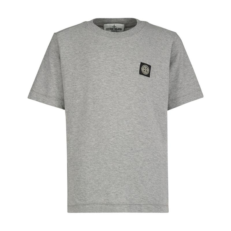 STONE ISLAND JUNIOR - Tee shirt basic gris - Nouvelle Collection