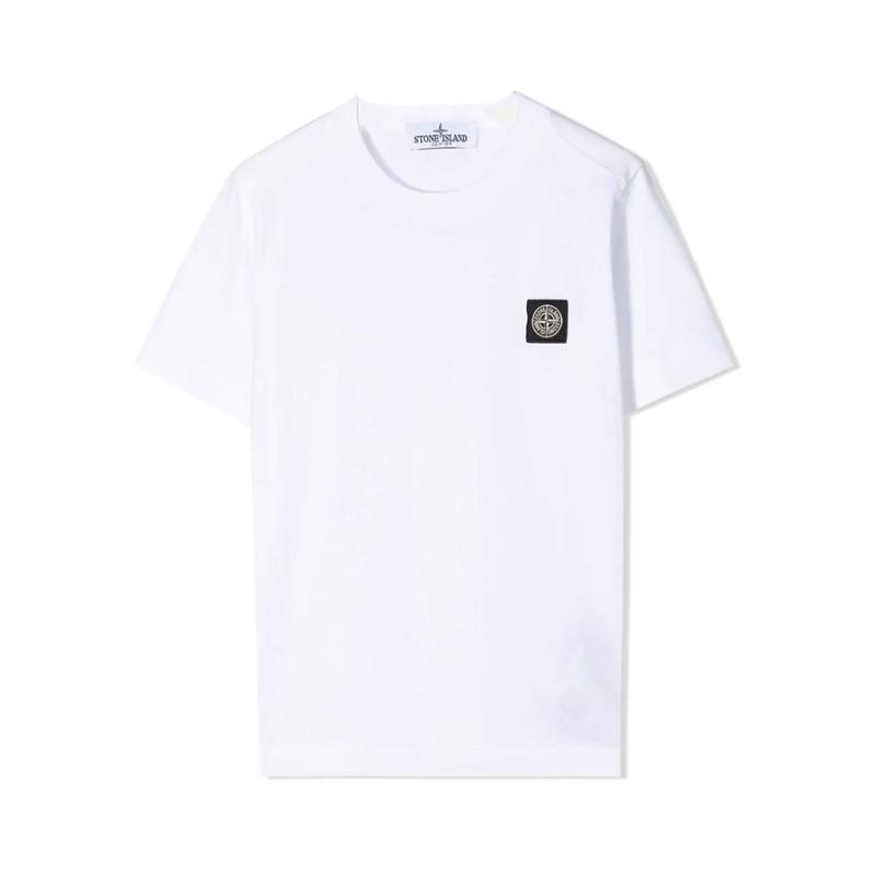 STONE ISLAND JUNIOR - Tee shirt basic blanc